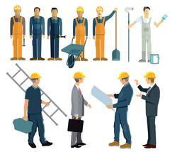 Building, architect, construction workers Stock Illustration