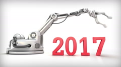 New Year 3d animation. Intelligent  robot changes calendar date 2016 for 2017 Stock Footage