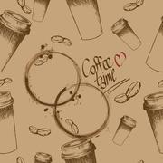 Take away coffee cup and beans pattern Stock Illustration