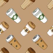 Take away coffee cup illustration pattern Stock Illustration