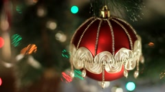 Red Christmas ball on christmas tree Stock Footage