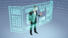 Young businessman uses holographic touchscreen computer Stock Footage