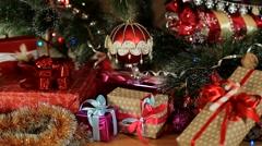 Red Christmas ball on Christmas tree Stock Footage