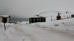 Landscape and buildings of Barentsburg on Svalbard Stock Footage