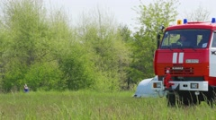 Fire engine driving through the field during a training at Boryspil Stock Footage