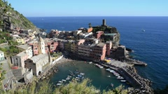 View of Vernazza, Cinque Terre, Liguria Italy Stock Footage