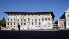 Pisa, square of the knights and the Caravan Palace Stock Footage