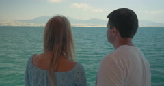 Woman and man speaking on boat against sea landscape Piraeus, Greece Stock Footage