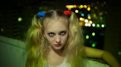 Crazy girl. halloween. woman holds a finger across his throat Stock Footage