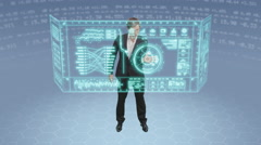 Future young male businessman and touchscreen technology Stock Footage