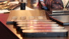 Make up cosmetic tools layout in a beauty salon Stock Footage