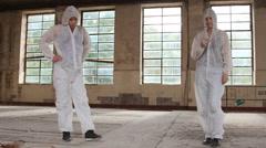 Criminologist investigates murder weapon and crime scene Stock Footage