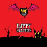 Vector happy halloween card with bat Stock Illustration