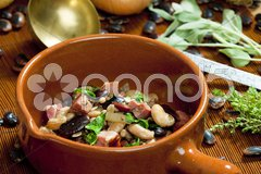 Mixture of beans with smoked meat Stock Photos
