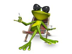 3d Illustration frog with a cup of coffee Stock Illustration