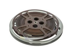 Vintage 16 mm Film Reels Isolated on White Stock Photos