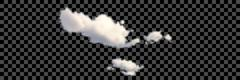 Set of transparent different white clouds. Vector Stock Illustration