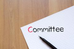 Committee text concept on notebook Stock Photos