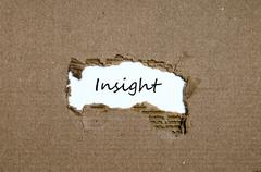 The word insight appearing behind torn paper Stock Photos