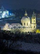 St. Nicholas Church at night, Prague, Czech Republic Stock Photos