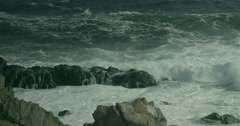Powerful wave crashed into a rock and splashing spectacular slow motion Stock Footage