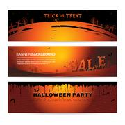 Set of Halloween party banner for event sale and party with graveyard atmostp Stock Illustration