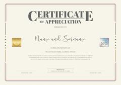 Certificate of appreciation template with watermark background Stock Illustration