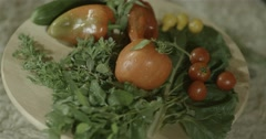Healthy vegetables  on a wooden tray Stock Footage