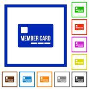 Member card framed flat icons Stock Illustration
