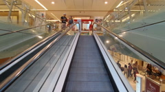 Travelator Inside Mall Stock Footage