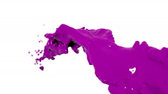 Flying purple fluid stream in slow motion DOF. Paint Stock Footage