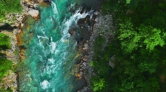 Tara river stream in Montenegro. View from above. Stock Footage