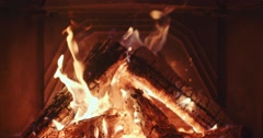Close Up of Wood Burning in a Cozy Fireplace. 4K DCi SLOW MOTION 120 fps. Stock Footage