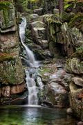 Waterfall in Karkonosze Mountains in Poland Stock Photos