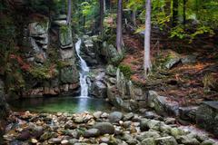 Waterfall in Autumn Forest of Karkonosze Mountains Stock Photos