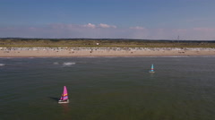 Beach and catamarans at Zandvoort beach, Holland. Stock Footage