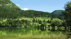 Bohinj lake in Slovenian Triglav national park Stock Footage