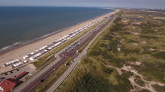 Dutch coastline by Zandvoort, aerial Stock Footage