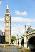Big Ben and Westminster Bridge, London, Great Britain Stock Photos
