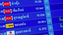 Closeup of the Flight Information Board at Don Mueang International Airport Stock Footage