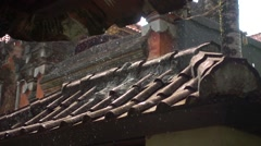 Raindrops Breaking on a Clay Tile Roof. Slow Motion Stock Footage