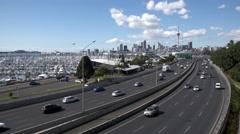 Auckland city NZ, northern motorway Stock Footage
