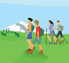 Hiking, trekking, Climbing Piirros