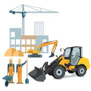 Construction site with crane and wheel loader Stock Illustration