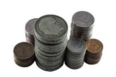 Piles of the Soviet and Russian coins Stock Photos