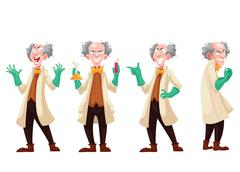 Mad professor in lab coat and green rubber gloves Stock Illustration