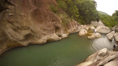 Tourists enjoying the peaceful water of a river near Nha Trang Stock Footage