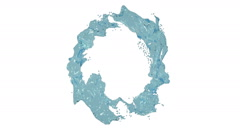 Blue liquid circle on white background. Water Stock Footage