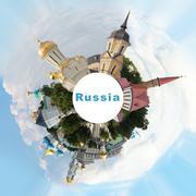 Russian landmarks collage Stock Photos