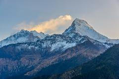 The Annapurnas at sunrise in Nepal Stock Photos